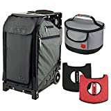 Zuca Graphite Gray Pro Travel Case w. Black Frame,Flashing Wheels, Gift Seat Cushion & Lunchbox