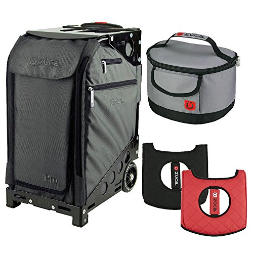 Zuca Graphite Gray Pro Travel Case w. Black Frame,Flashing Wheels, Gift Seat Cushion & Lunchbox by ZUCA