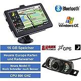 Elebest 12,7cm 5 Zoll 16GB PKW,LKW,Wohnmobil,GPS,Navigationsgerät,Navigation,Funk Rückfahrkamera 7 LED´s, AV-IN, Bluetooth, Erweiterbarer Speicher, Fahrspurassistent, Geschwindigkeitsanzeige,Neuste Karten sowie Radarwarner