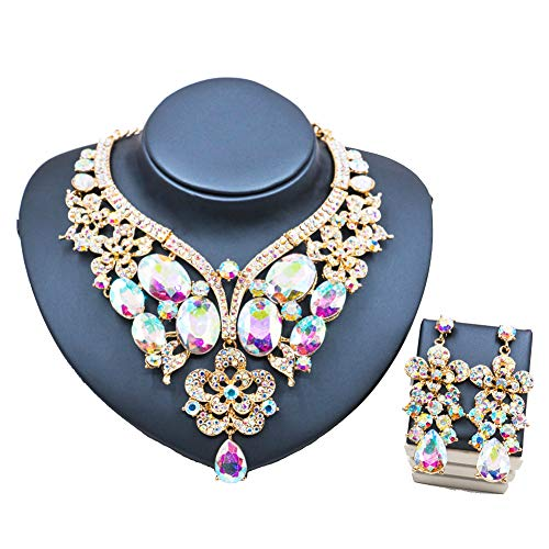LAN PALACE African Jewelry Sets 18k Gold Dubai Glass Rhinestone Necklace and Earrings for Wedding six Colors (White AB)