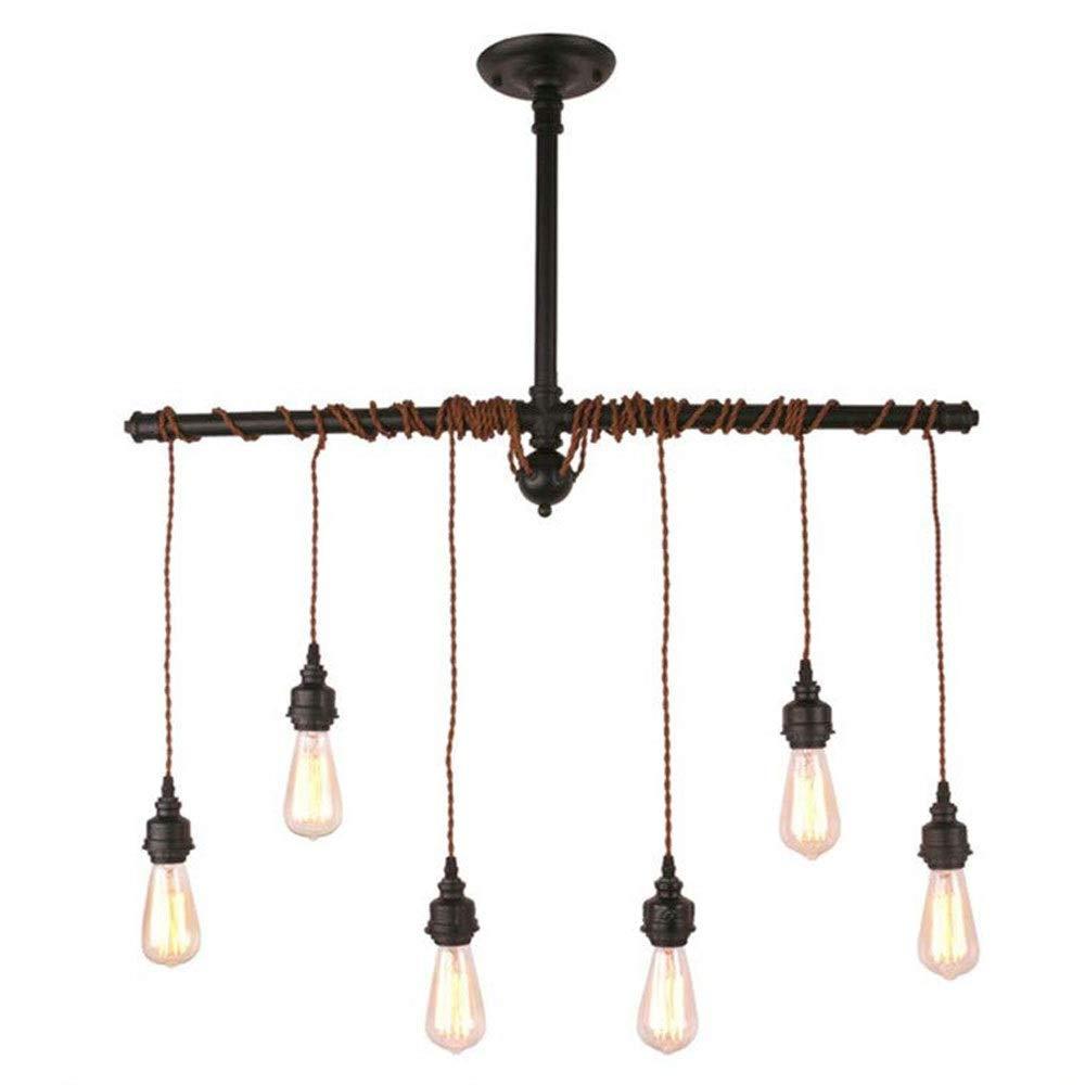 A-Lnice Hanfseil-Kronleuchter-Pendelleuchte-Deckenleuchte (Lampen Nicht im Lieferumfang enthalten) Braune 6 Lampenfassung
