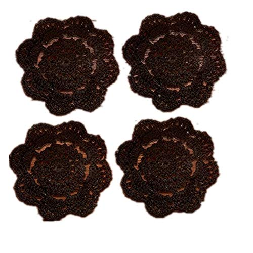 YIZUNNU 4pcs Handmade Crochet Doily Round Cotton Coasters,Diameter 4 Inch,Black ()
