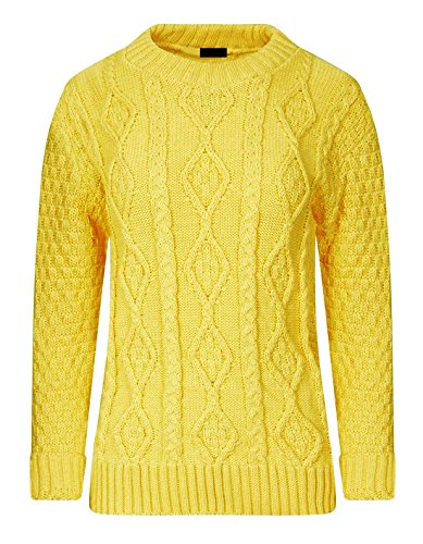 Small Cable Large Pour Femmes Womens Yellow Islander Top Pull Chunky Pullover Tricot Fashions Longues Manches AHWxTqBw