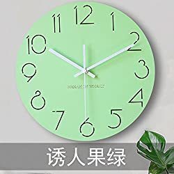xing lin Wall Decor Clock Kitchen Wall Clock Wall Clock Living Room Modern Mute Living Room Wall Clock Round Clock Office Wall Clock Wooden Miniature Northern European Clock Clock Watch, 15-Inch, Se