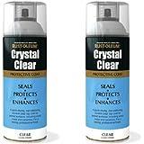2x Rust-Oleum Crystal Clear Gloss Spray Paint Protective Top Coat - 400ml