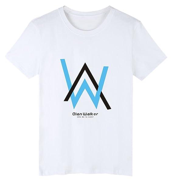 ZIGJOY Camisa Desteñida Alan Olav Walker Cotton Fashion Music O-Neck Top Tees para Hombres y Mujeres 8PlFtFenK