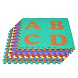 We Sell Mats Uppercase Alphabet Foam Floor Tiles, Interlocking Puzzle ABC/123 Floor Mat, Non-Toxic, for Playtime and Classroom Learning, 12 in x 12 in