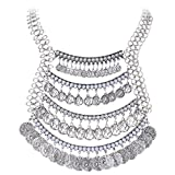BriLove Women's Vintaged Style Multi Layers Cameo Coins Tassel Bib Statement Necklace Antique Silver-Tone