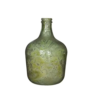 MICA Decorations - Jarrón de Botella de Cristal Reciclado - Jarrón Decorativo - Botellas de Cristal, Verde, H 56 cm D 40 cm: Amazon.es: Hogar