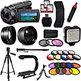 Sony FDR-AX53 4K Ultra HD Handycam Camcorder with 3x64GB Memory Card, 3Pcs Filter Kit, 60 Tripod, 72 Monopod, Microphone, Carrying Case, Microfiber Cloth and Accessories Bundle Kit