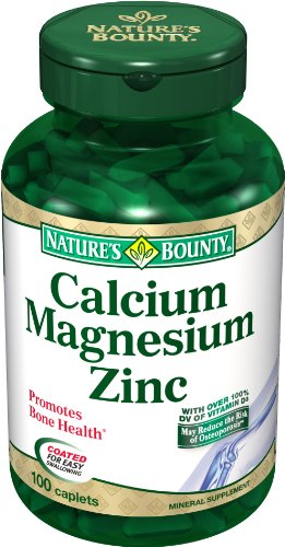 Cheap Nature's Bounty Calcium Magnesium Zinc, 100 Caplets (Pack of 6)