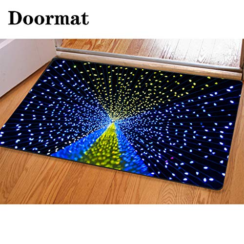 HooMore 3D Printing and DyeingBathroom Carpet, Door mat,Looking Up at Christmas Lights on a Pole Flannel Foam Shower mat, Absorbent Kitchen Door Carpet