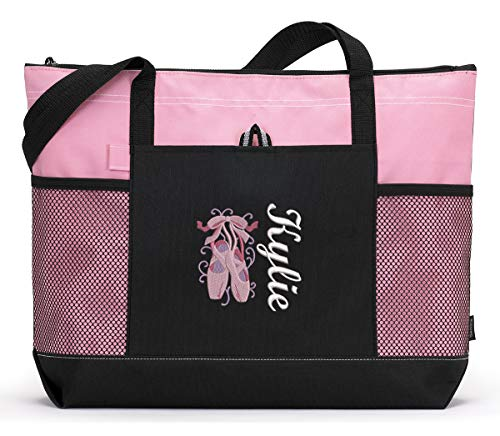 Handmade Quilted Handbags - Personalized Dance Ballet Embroidered Zippered Tote Bag