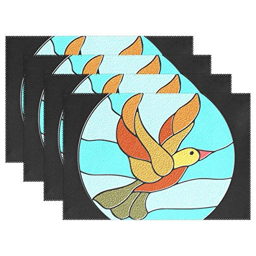 QYUESHANG Bird Circle Icons Duck Stained Glass T-shirts Placemats Set Of 4 Heat Insulation Stain Resistant For Dining Table Durable Non-slip Kitchen Table Place ()