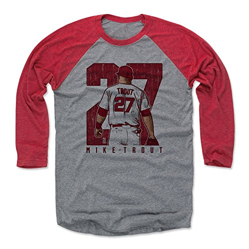 500 LEVEL Mike Trout Baseball Tee Shirt Large Red/Heather Gray - Los Angeles Baseball Raglan Shirt - Mike Trout Clutch R