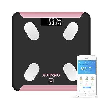 Bluetooth Aplicación móvil inteligente Básculas de peso corporal Escalas de salud humana Báscula de baño Rose Gold + Black/USB de carga: Amazon.es: Hogar