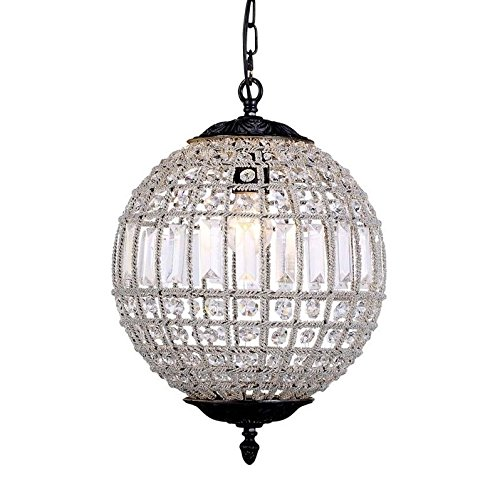 "Elegant Lighting 1205D12DB/RC Olivia Collection 1-Light Pendant Lamp with Royal Cut, 12"" Depth x 18.5"" Height, Dark Bronze Finish, Crystal"