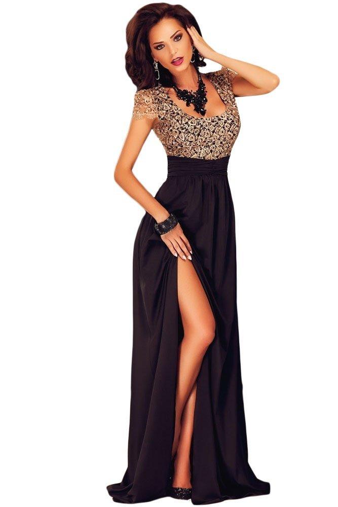 Vestido de mujer, dorado y negro con lentejuelas, para fiesta o baile, largo, espalda descubierta, talla L: Amazon.es: Bricolaje y herramientas