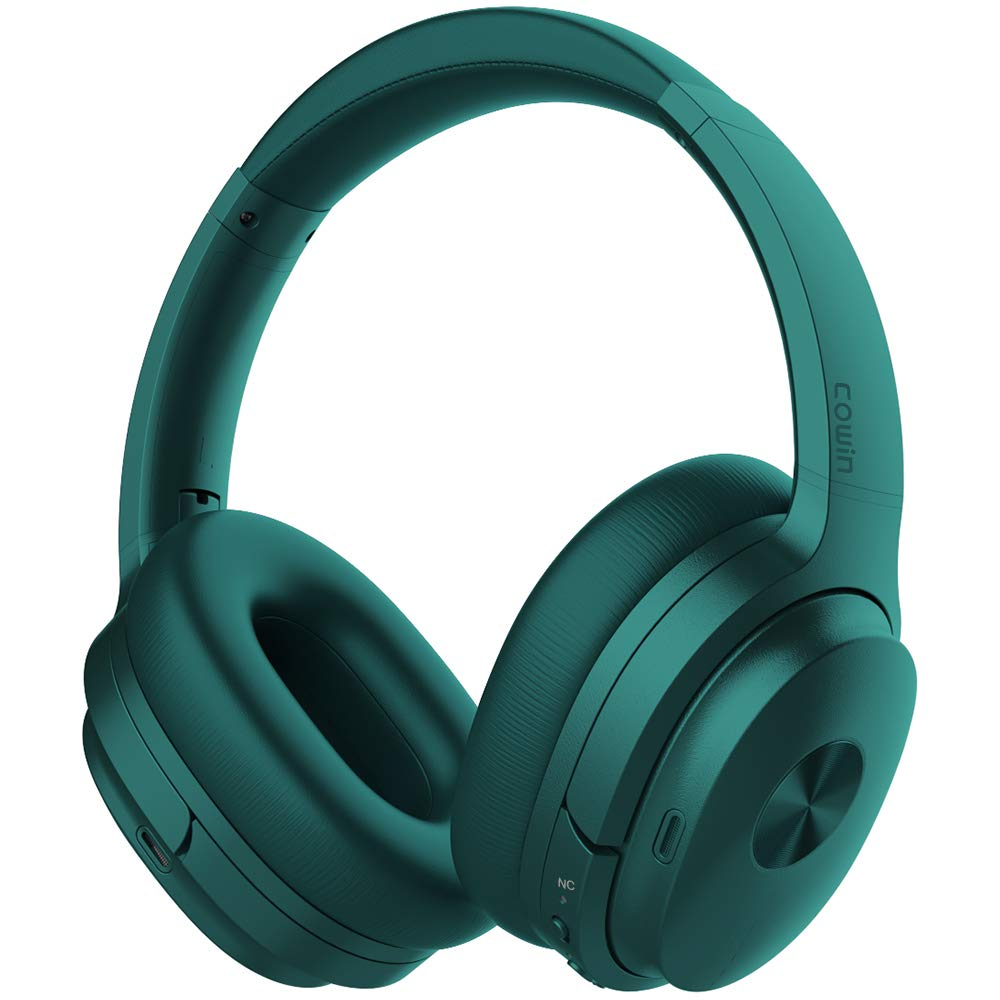 COWIN SE7 Active Noise Cancelling Headphones Bluetooth Headphones Wireless Headphones Over Ear with Microphone/Aptx, Comfortable Protein Earpads, 50 Hours Playtime for Travel/Work, Dark Green