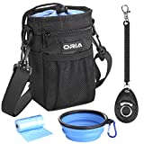 ORIA Dog Treat Bag, Dog Training Pouch, Pet Training Waist Bag with Adjustable Strap & Collapsible Dog Bowl & Storage for Treats, Balls, Toys and Training Accessories