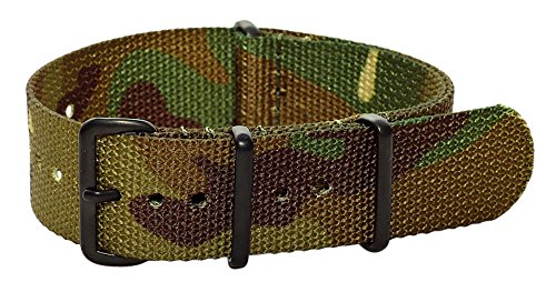 Clockwork Synergy Premium Nylon Nato Watch Straps bands PVD Black Hardware … (20mm, Army CAMO)