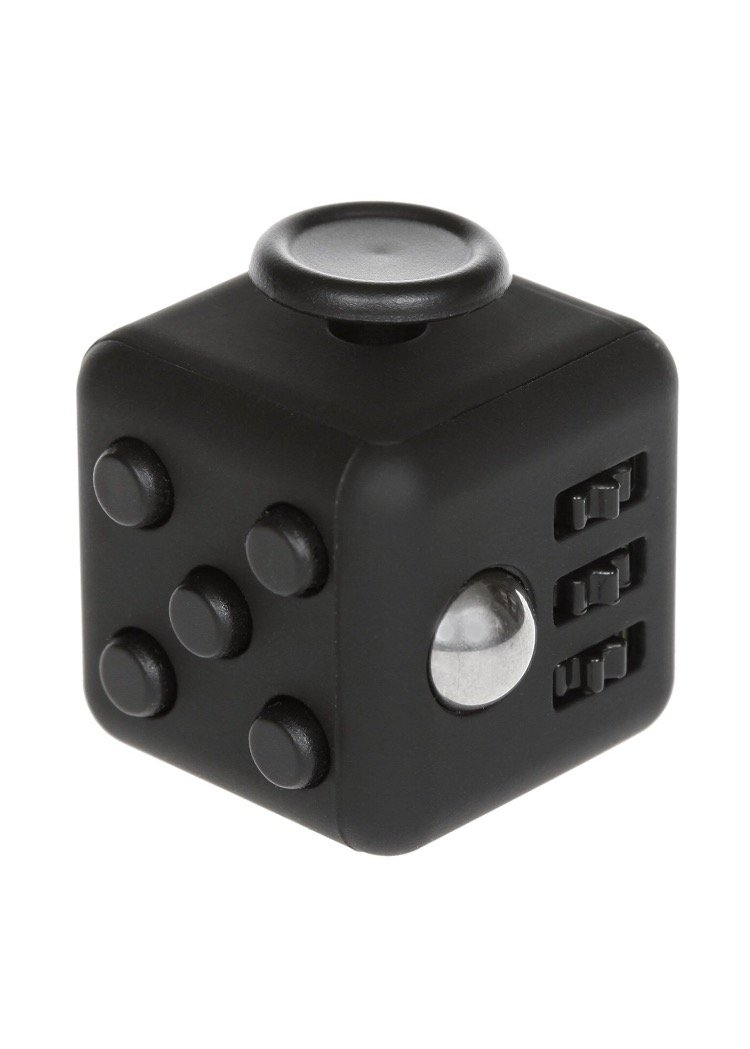 Anxiety Stress Relief Fidget Cube: Calming Toy for Focus, Relaxation, Distraction & Improved Mood - Aids Depression, Worry & Fear - Perfect Gift for Autism, Anger, ADD, ADHD & PTSD Black and Black
