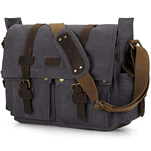 S-ZONE Vintage Canvas Camera Bag DSLR SLR Messenger Bag Leather Shoulder Satchel with Camera Insert for Men and Women (Best Camera Bag Street Photography)