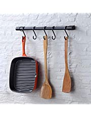 Kitchen Utensil Rack Wall Mounted Rail with Removable S Hooks