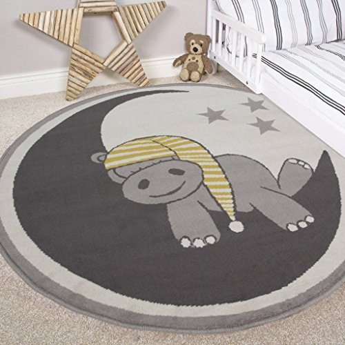 Nursery Style Hippo, Moon and Stars Kids Baby Room Childrens Floor Area Rug Mat