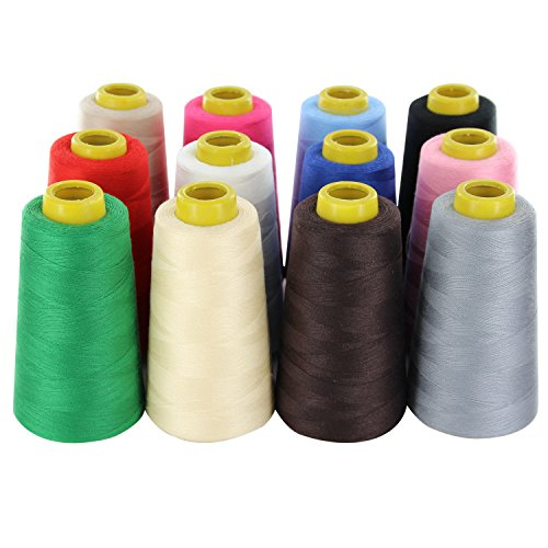 Assorted Thread 12 Spools (12 Colors Big Spools Polyester All Purpose Sewing Threads 2400 Yards Each (12 Assorted Colors))
