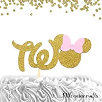 1 pc TWO Minnie Mouse Head Pink Gold Glitter Cake Topper for second Birthday Baby girl