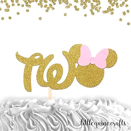 1 pc TWO Minnie Mouse Head Pink Gold Glitter Cake Topper for second Birthday Baby girl -