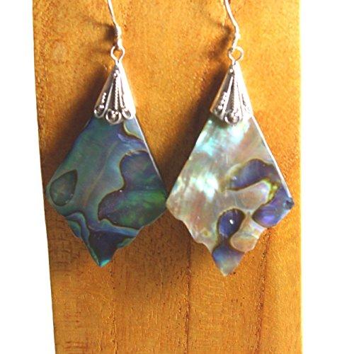 (Sterling Silver Abalone Shell Fancy Diamond Shape Dangle Earring Bali Bay Trading Co)