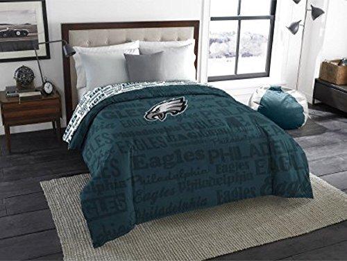 Sports Team Bedding - 1 Piece NFL Philadelphia Eagles Comforter Full, Sports Patterned Bedding, Featuring Team Logo, Fan Merchandise, Team Spirit, Football Themed, National Football League, Blue, White, Unisex