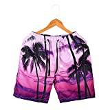 FarJing Big Promotion Mens Wear 3D Print Beach Pants Pants Large Size Creative Swimming Pants (3XL,Pink