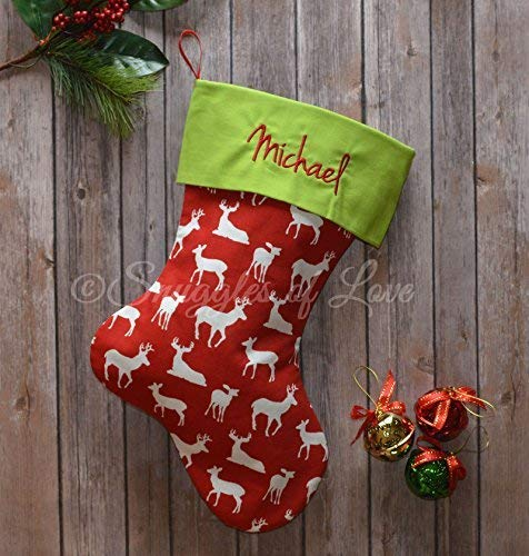 embroidered red deer christmas stocking red reindeer stocking with chartreuse green cuff and optional personalized