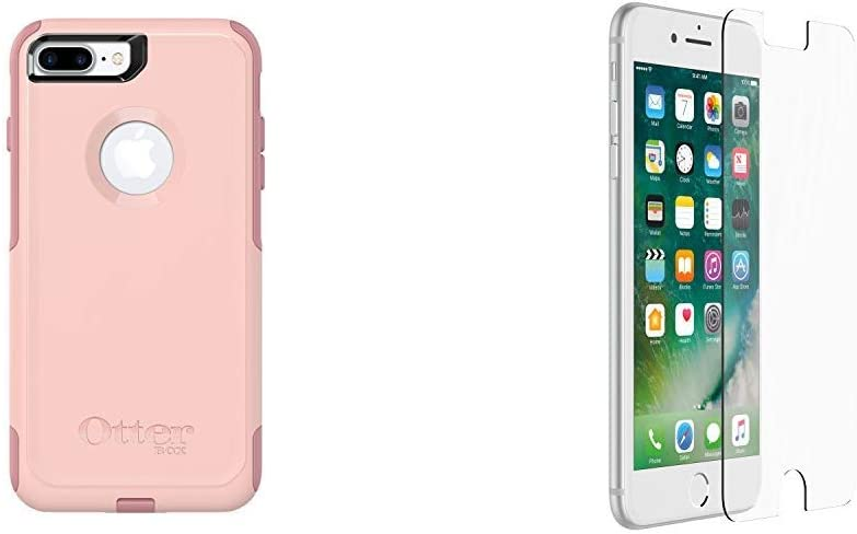 OtterBox COMMUTER SERIES Case for iPhone 8 Plus & iPhone 7 Plus - Retail Packaging - BALLET WAY (PINK SALT/BLUSH) & ALPHA GLASS SERIES Screen Protector for iPhone 6 Plus/6s Plus/7 Plus/8 Plus - CLEAR