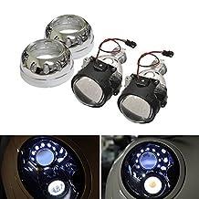 "iJDMTOY (2) 2.5"" Mini H1 Bi-Xenon HID Retrofit Projector Lens w/ LED Iron-Man Style Shroud For Headlights DIY Use"