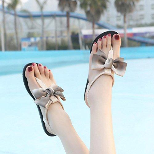 LHWY Sandalen Damen Zehentrenner Frauen Flache Sommer Strand Schuhe Bowknot Bohemia Freizeit Sandalen Peep-Toe Flip Flops Rutschfest Schuhe Mädchen Fashion Khaki