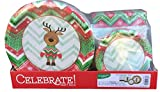 """Celebrate Holiday Party Paper Plates & Napkins (50 - 6.75"""" Paper Plates / 50 - 10.25"""" Paper Plates / 100 - 13""""x13"""" Paper Napkins), Serves 50"""