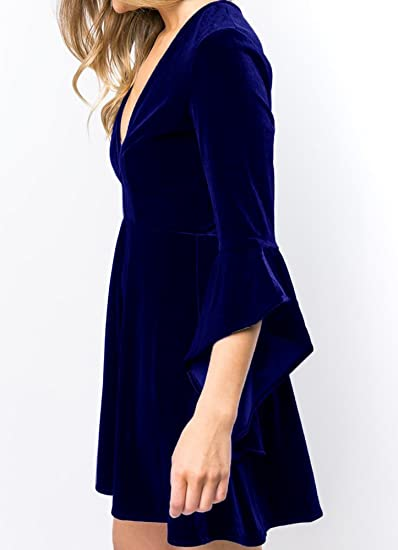 Women's Velvet Plunge 3/4 Sleeve Elegant A Line Swing Skater Party Dress