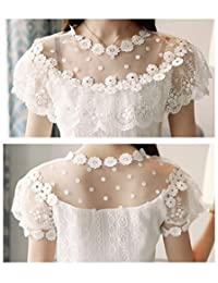 FairOnly Nueva Moda Ropa de Mujer de Encaje Hueco Sexy de Manga Corta Verano Tops Mujer Blusa de Encaje Floral Blusas Blusa 0051 30 White XL