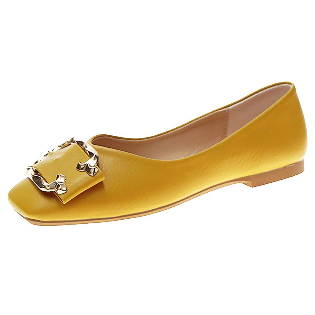 Aunimeifly Ladies Stylish Square Toe Flat Shallow Casual Single Sandals Women Buckle Decor Work Shoes Yellow by Aunimeifly
