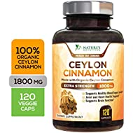Certified Organic Ceylon Cinnamon Standardized 1800mg - Organic Sri Lanka Ceylon Cinnamon Powder Pills - Made in USA - Best Natural Blood Sugar Support Supplement - 120 Capsules