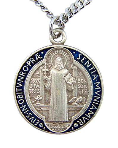 Sterling Silver Enamel Pendant (Sterling Silver with Blue and Red Enamel Round Saint Benedict Medal Pendant (7/8 Inch))