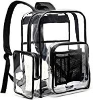 BuyAgain Large Clear Backpack Heavy Duty Transparent Backpack Bookbag for School Work Travel