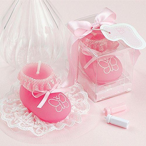 Shoe Candle Favor - Baby Boy/girl Shoe Smokeless Candle Cake Topper Baby Shower Favors Giveaway with Thank You Card (Pink)
