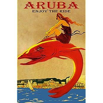 ENJOY THE RIDE VENICE FLORIDA BEACH GIRL RIDING FISH TRAVEL VINTAGE POSTER REPRO