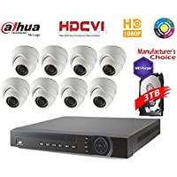Dahua Penta-brid 1080P Security Package: 16CH 1080P Penta-brid XVR5216 5 in 1 (CVI TVI AHD IP and Analog) w/3TB Security Hard Drive+(8) 2MP Outdoor IR HDW1200 3.6MM Eyeball (NO LOGO OEM Local Support)