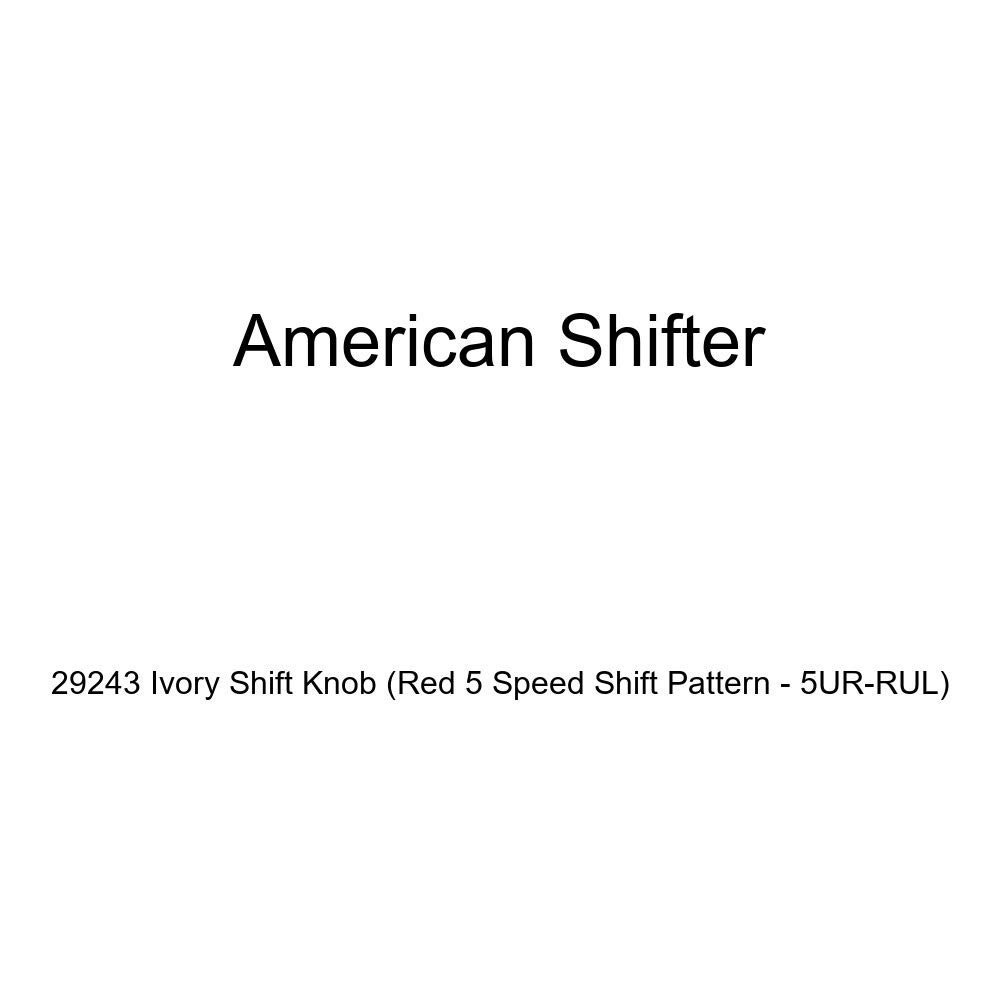 American Shifter 29243 Ivory Shift Knob Red 5 Speed Shift Pattern - 5UR-RUL